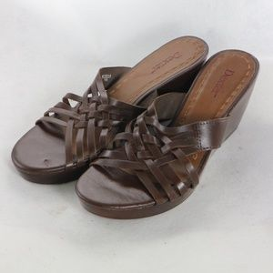 DEXTER Open Toe Brown Leather Strappy Sandals